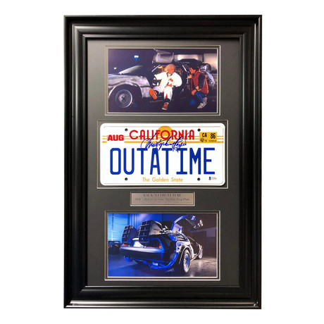 """Back to the Future"" Christopher Lloyd DeLorean // Movie Car License Plate // Signed Framed Collage"