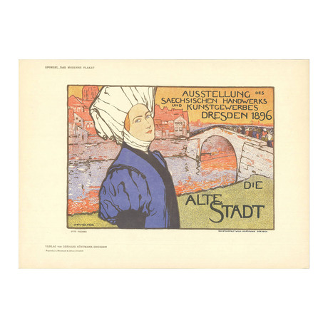 Otto Fischer // Dresden, Die Alte Stadt // 1897 Lithograph