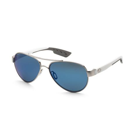 Unisex Loreto Sunglasses // Palladium + White + Blue Mirror