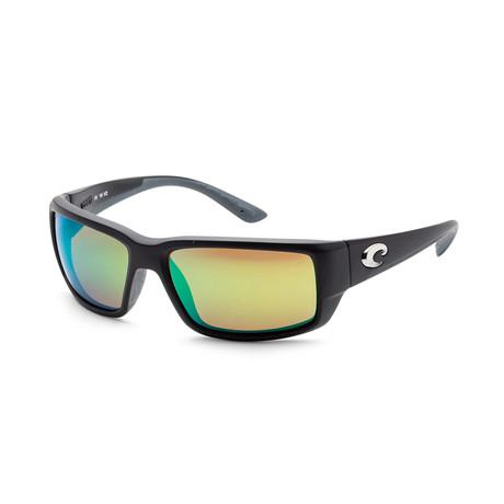 Unisex Sunglasses // Matte Black + Green Mirror