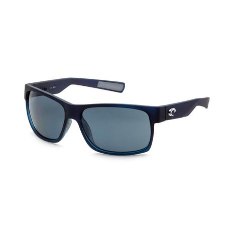 Unisex Half Moon Sunglasses // Bahama Blue Fade + Gray