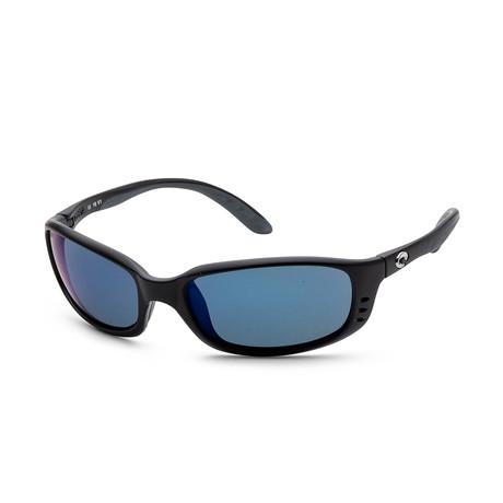 Unisex Brine Sunglasses // Matte Black + Blue Mirror