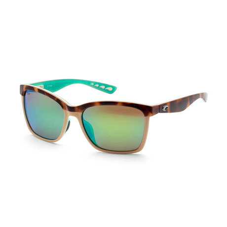 Unisex Shiny Retro Sunglasses // Havana + Green Mirror