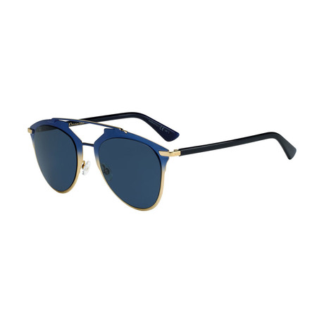 Women's Reflected Sunglasses // Gold + Blue + Black