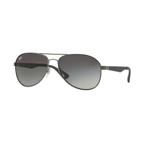 Unisex Aviator Sunglasses // Gray + Gray Gradient