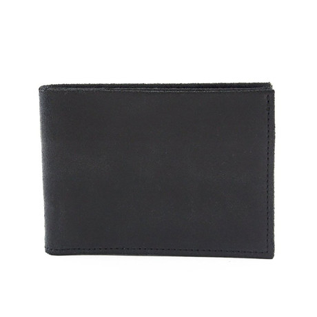 Distressed Leather Bifold Wallet (Black)