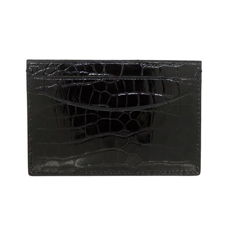 Bryant Park // Genuine Shiny Alligator 5 Pocket Curved Card Case (Black)