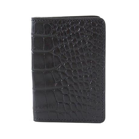 Bryant Park // Alligator Embossed Bifold Card Case (Black)