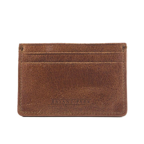 Distressed Full Grain Leather Card Case (Black)