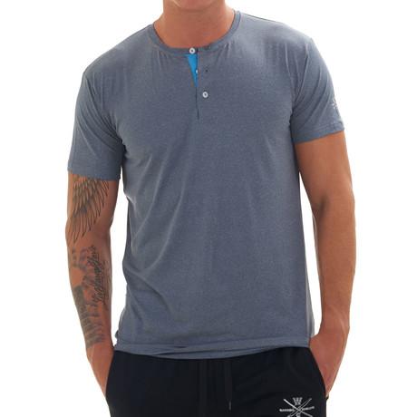 Revolution Short Sleeve Fitness Henley // Blue (S)