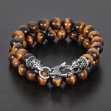 Stainless Steel + Polished Natural Stone Bracelet Set (Tiger Eye)