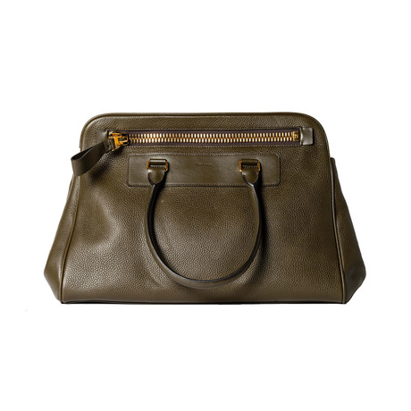 Leather Briefcase // Olive Green
