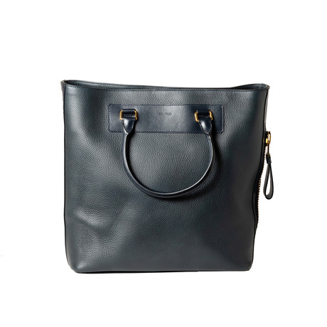 Leather Tote Bag // Navy Blue