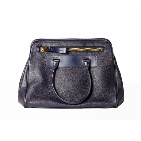 Leather Briefcase // Navy Blue