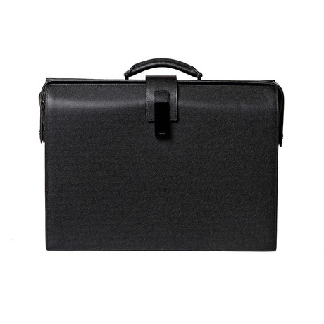 Pebbled Leather Briefcase // Black