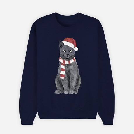 Xmas Cat Sweatshirt // Navy (S)