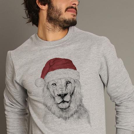 Santa Lion Sweatshirt // Gray (S)