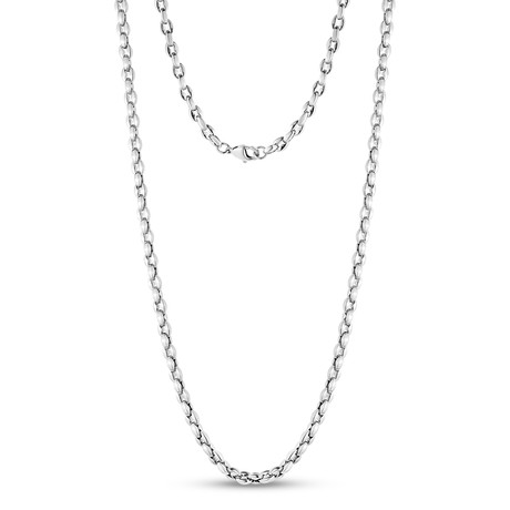 "Coffee Bean Link Necklace // Silver (20""L)"