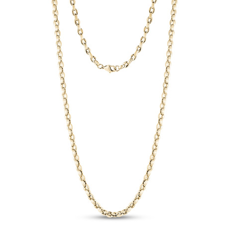 "Coffee Bean Link Necklace // Gold (20""L)"