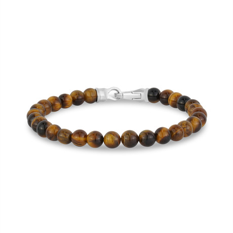 "Tiger Eye Bead Bracelet // 6mm // Brown (7.5""L)"