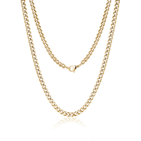 "Steel Cuban Link Necklace // 10mm // Gold Plated (20""L)"