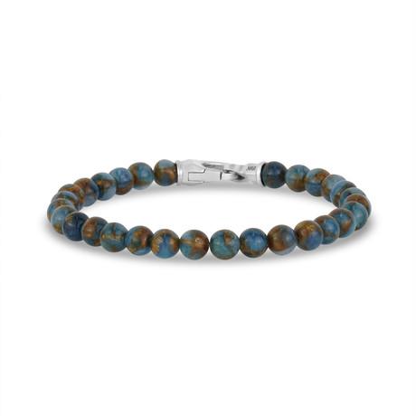 """Jade Bead Bracelet // 6mm // Blue + Brown (7.5""""L)"""