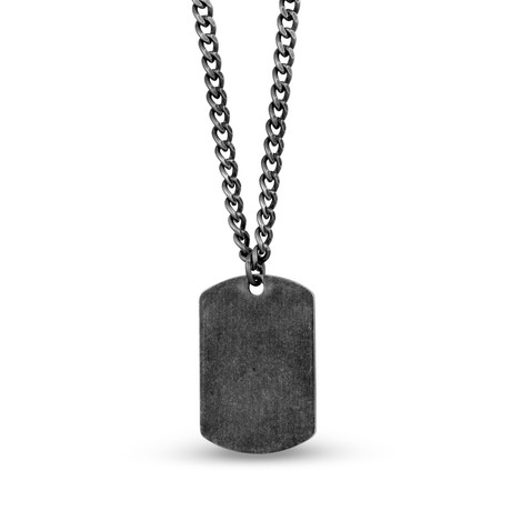 "Dog Tag + Chain // Antiqued Steel (20""L)"
