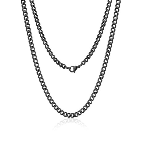 "Steel Cuban Link Necklace // 10mm // Black (20""L)"