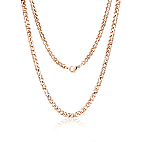 "Steel Cuban Link Necklace // 10mm // Rose Gold Plated (20""L)"