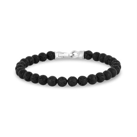 """Lava Bead Bracelet // 6mm // Black (7.5""""L)"""