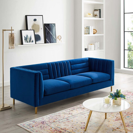 Modway // Ingenuity Channel Sofa // Navy Blue