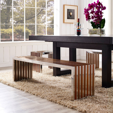 Modway // Gridiron Wood Inlay Bench