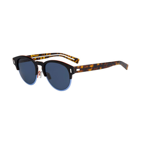 Men's Black Tie Classic Round Sunglasses // Havana + Blue + Gray