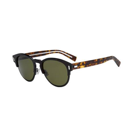 Men's Black Tie Classic Round Sunglasses // Black + Havana + Gray