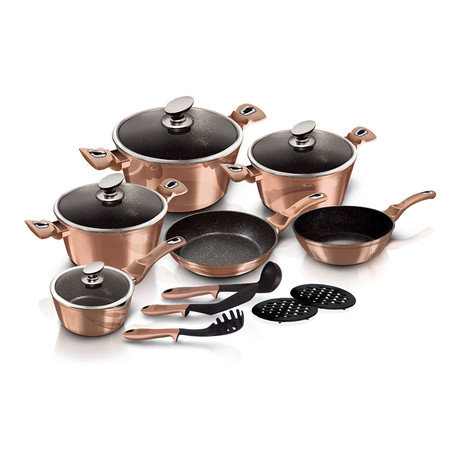 15-Piece Kitchen Cookware Set // Rose Gold