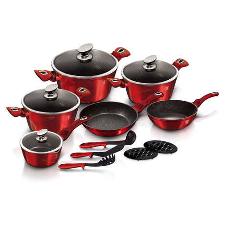 15-Piece Kitchen Cookware Set // Burgundy