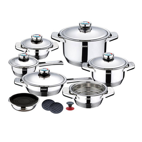 17-Piece Wide Edge Stainless Steel Cookware Set