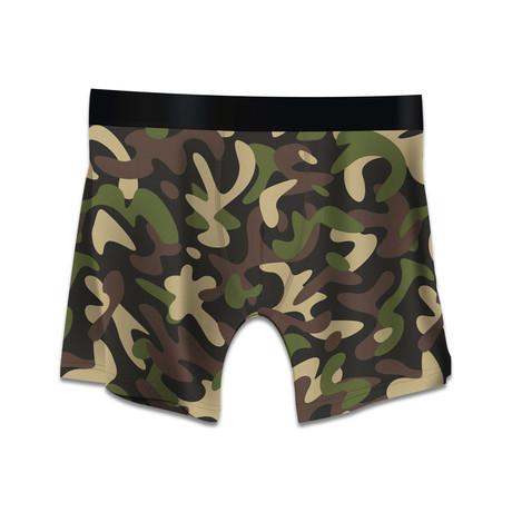 Men's Boxer Briefs // Camo // Green + Brown (M)