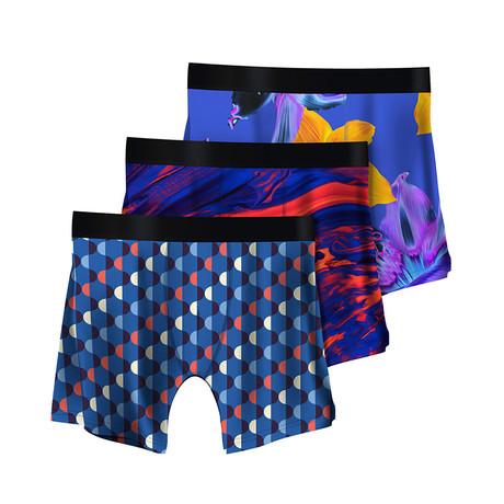 Men's Boxer Briefs // Art Deco + Color Swirls + Psychedelic // 3-Pack (M)