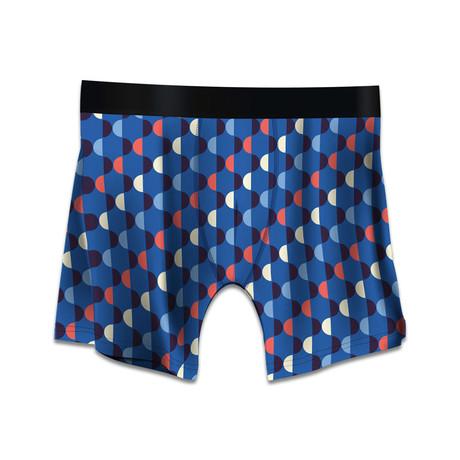 Men's Boxer Briefs // Art Deco // Blue + Red (M)