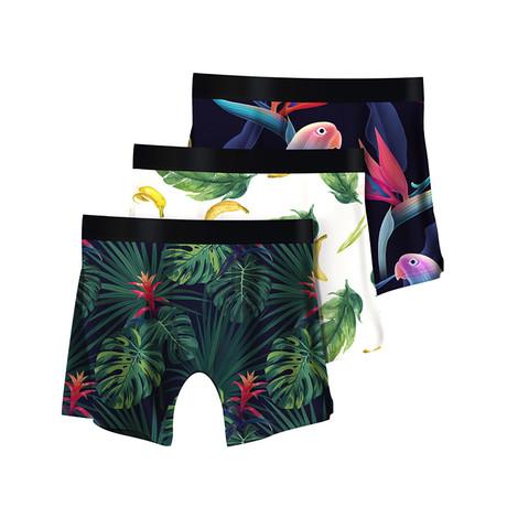 Men's Boxer Briefs // Tropical + Bananas + Parrots // 3-Pack (M)