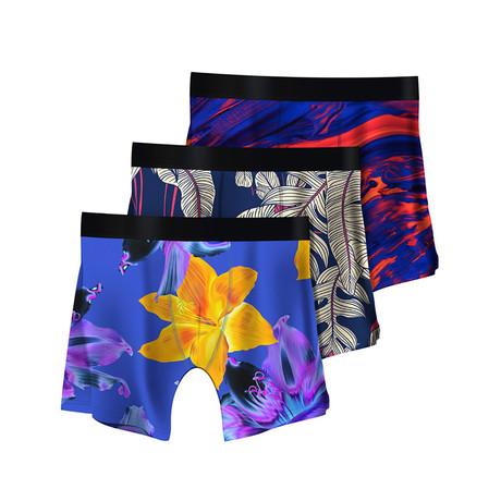 Men's Boxer Briefs // Psychedelic + Ficus + Color Swirls // 3-Pack (M)