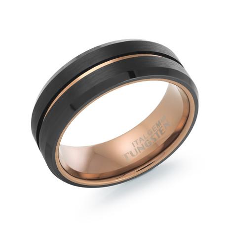Tungsten Carbide Brushed Polished Band V1 // Espresso (7)