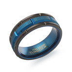 Tungsten Carbide Rectangular Cut Band // Black + Blue (7.5)