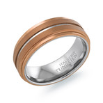 Tungsten Carbide Brushed Polished Band // Espresso + Silver (9)