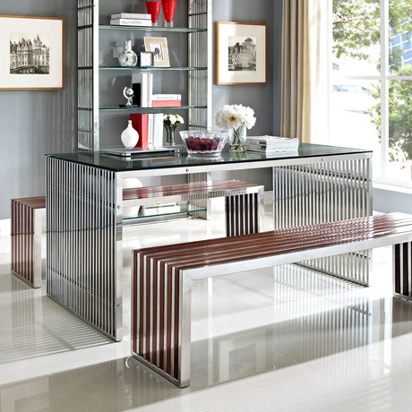 Modway // Gridiron Dining Table // Stainless