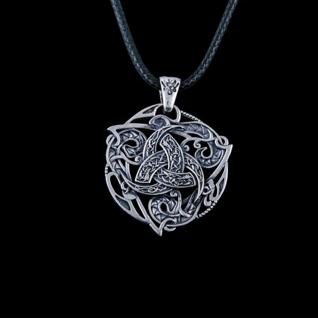 Norse Odin Horn Symbol Pendant // Silver