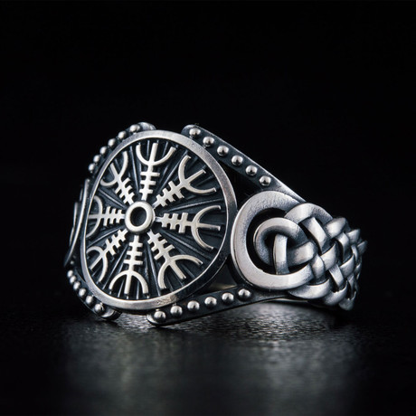 Helm of Awe Symbol Ring V.2 // Silver (6)