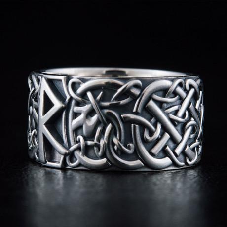 Scandinavian Raido Rune Ring // Silver (6)