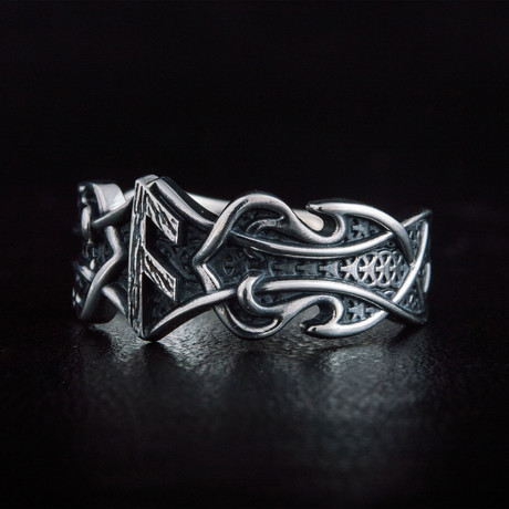 Ring + Ansuz Rune + Norse Ring // Silver (6)